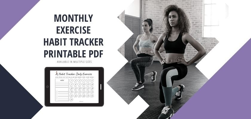 Monthly Exercise Habit Tracker Free Printable PDF