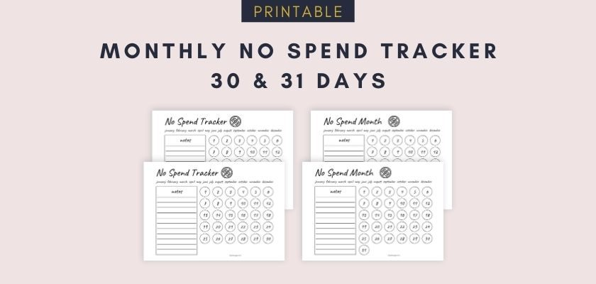 Monthly No Spend Tracker - Free Printable PDF